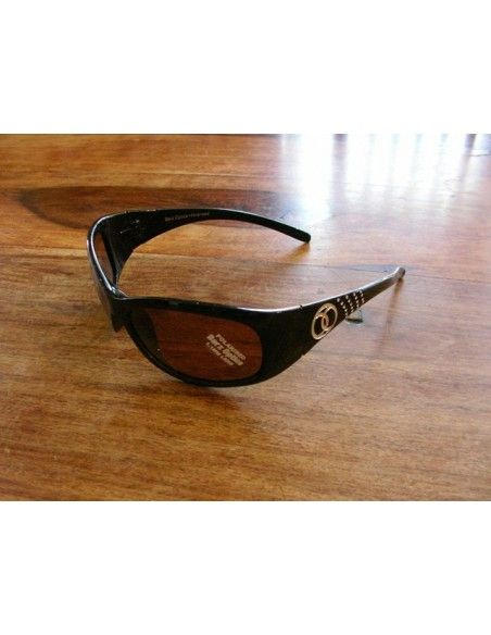 Barz Optics Hayman Matt Black Diamonte Trim AC Polarised Amber