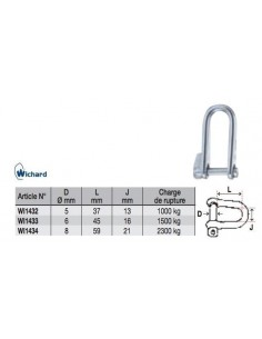 Wichard Shackle Long D Key Pin