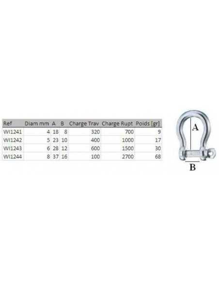 Wichard Self-locking pin bow shackles 4mm