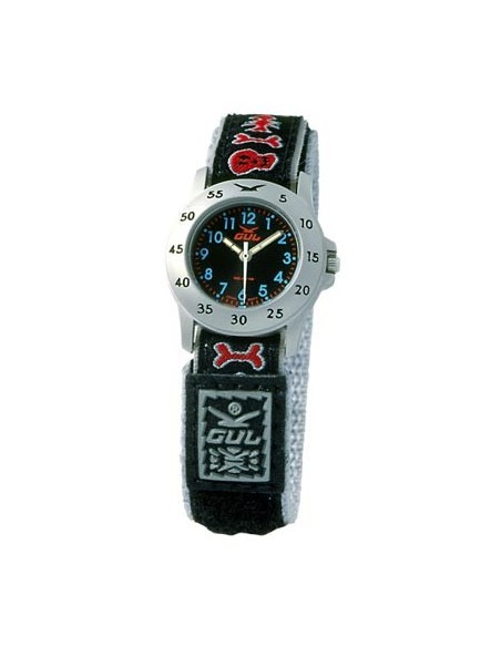 Gul Children Micro Chrome Black Dial Velcro Strap